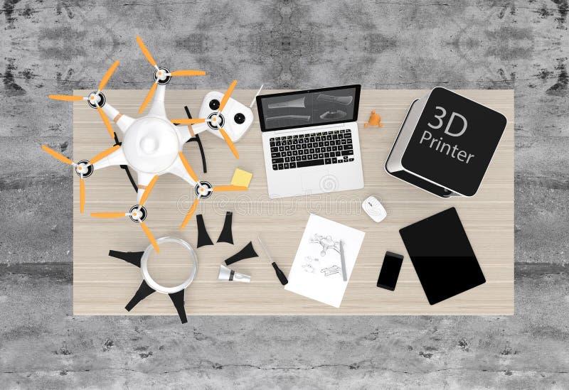 3D打印机、膝上型计算机、片剂个人计算机和寄生虫在桌上 向量例证