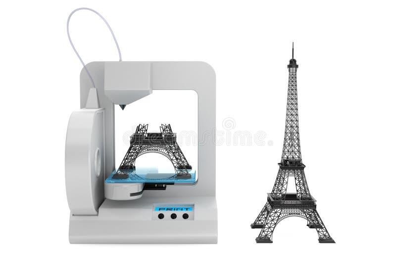 3d打印机修造艾菲尔铁塔模型 向量例证