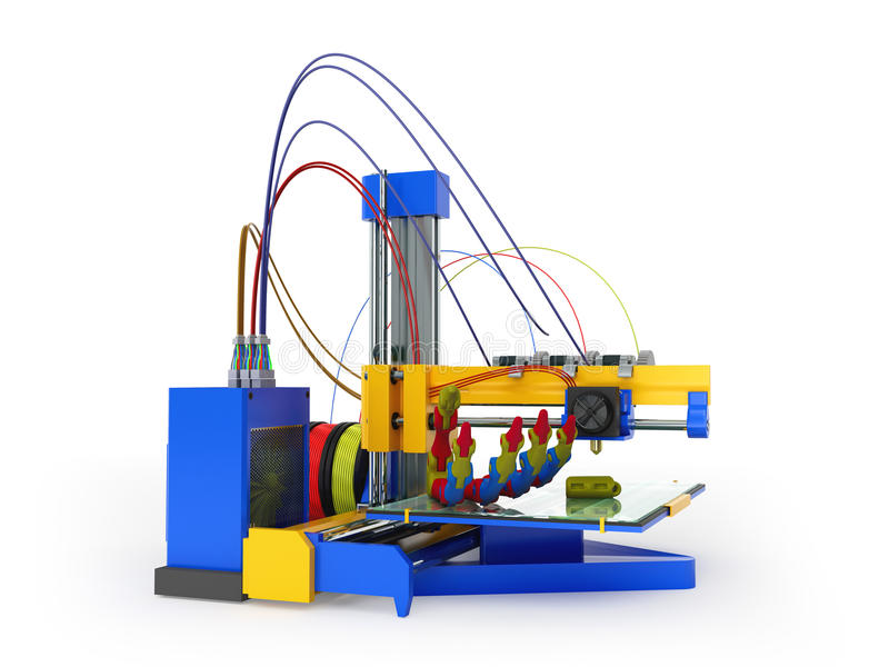 3d打印机印刷品假肢3D在白色回报 皇族释放例证