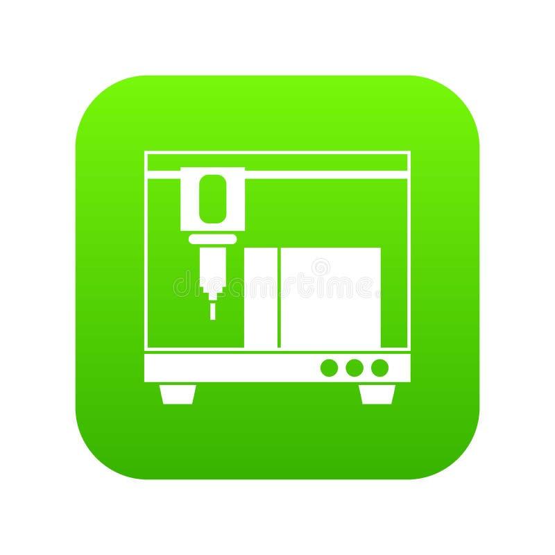 3D打印机图标数字式绿色 皇族释放例证
