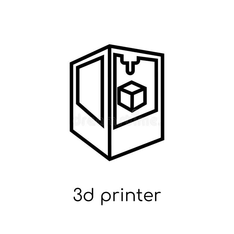 3D打印机图标  向量例证