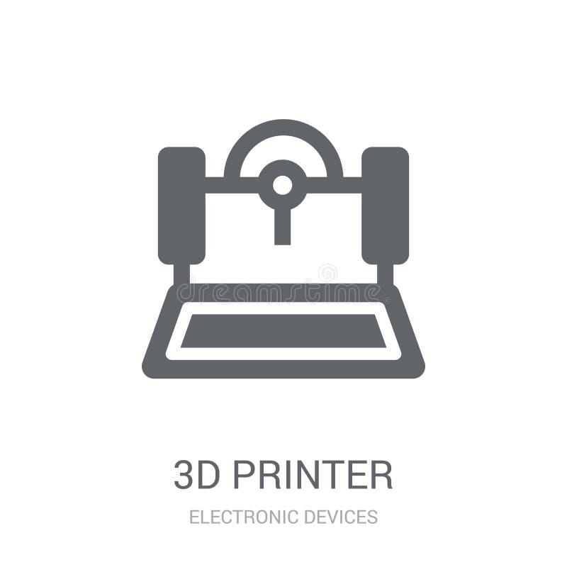 3D打印机图标  皇族释放例证