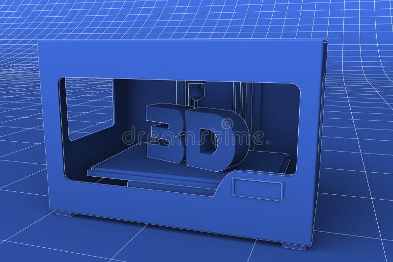 3D打印机现代奇迹 皇族释放例证