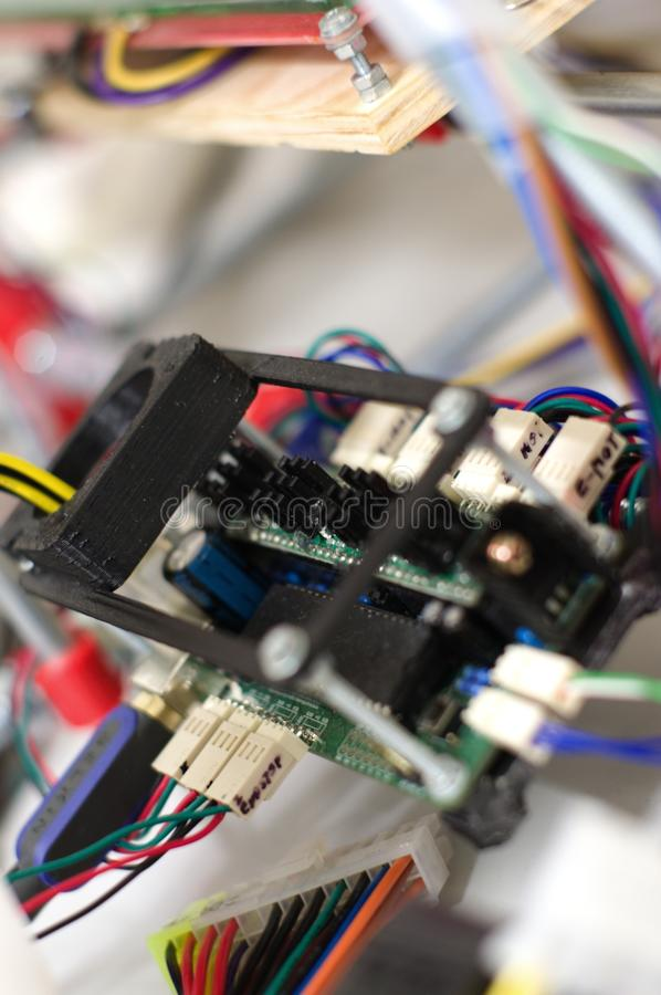 3D打印机的电路板 免版税库存图片