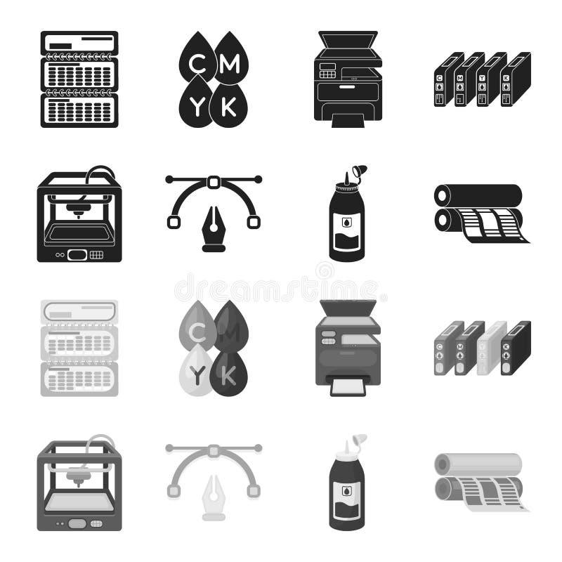 3D打印机,报纸打印机,墨水,笔 印刷术集合汇集象在黑,单色样式传染媒介标志库存 皇族释放例证