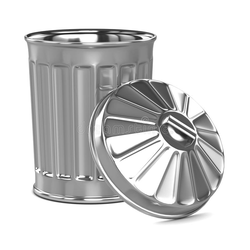 3d打开与盒盖的垃圾箱 皇族释放例证