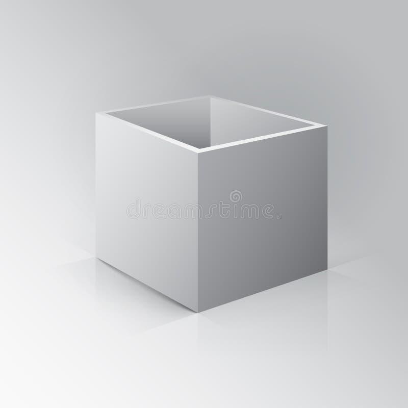 3D打开箱子大模型 在白色背景的箱子与反射和 库存例证