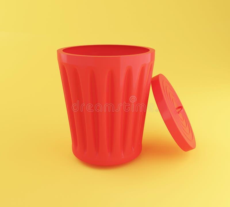 3d打开红色垃圾箱 皇族释放例证