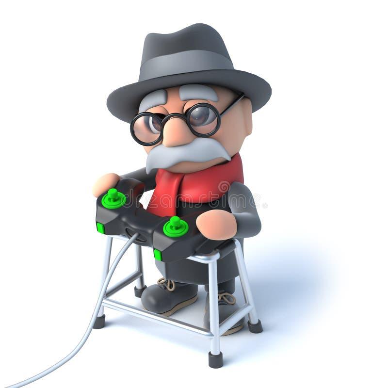 3d打电子游戏的祖父爱 向量例证