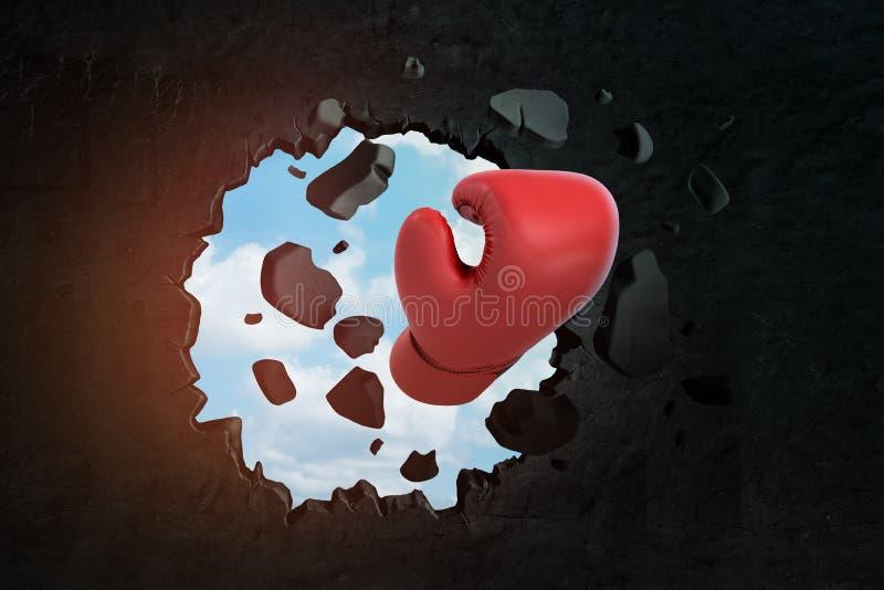 3d打破在黑墙壁的红色拳击手套特写镜头翻译孔有通过孔被看见的天空蔚蓝的 向量例证