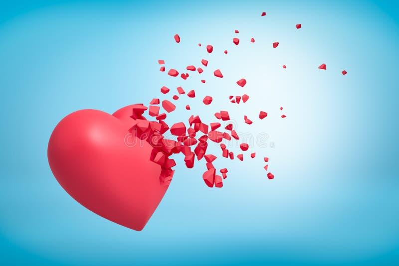 3d打碎入在蓝色背景的小片断的桃红色心脏翻译 库存例证