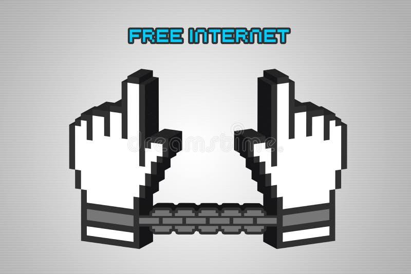 3D抗议净中立地位撤销想法的例证  向量例证