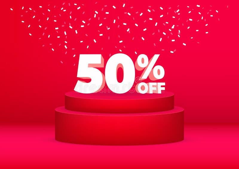 3d折扣50%销售海报或飞行物设计 促进折扣在红色背景的销售广告 皇族释放例证