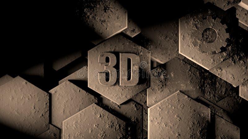 3D抽象未来派背景的例证从许多不同的六角形的,蜂窝石头以抓痕和铁锈,老,想法 库存例证