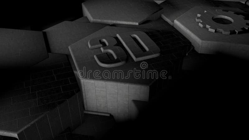 3D抽象未来派背景的例证从许多不同的六角形,蜂窝由铁制成,银和金子的,与 皇族释放例证