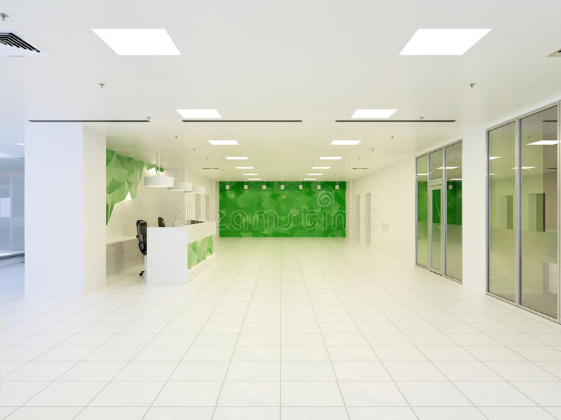 3d抽象现代大厅的例证办公楼的 库存例证