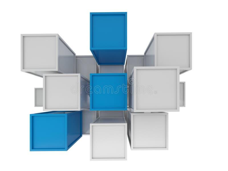 3D抽象立方体,技术背景翻译  向量例证