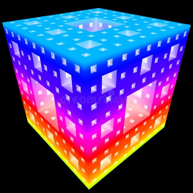 3D抽象立方体建筑的例证 库存例证