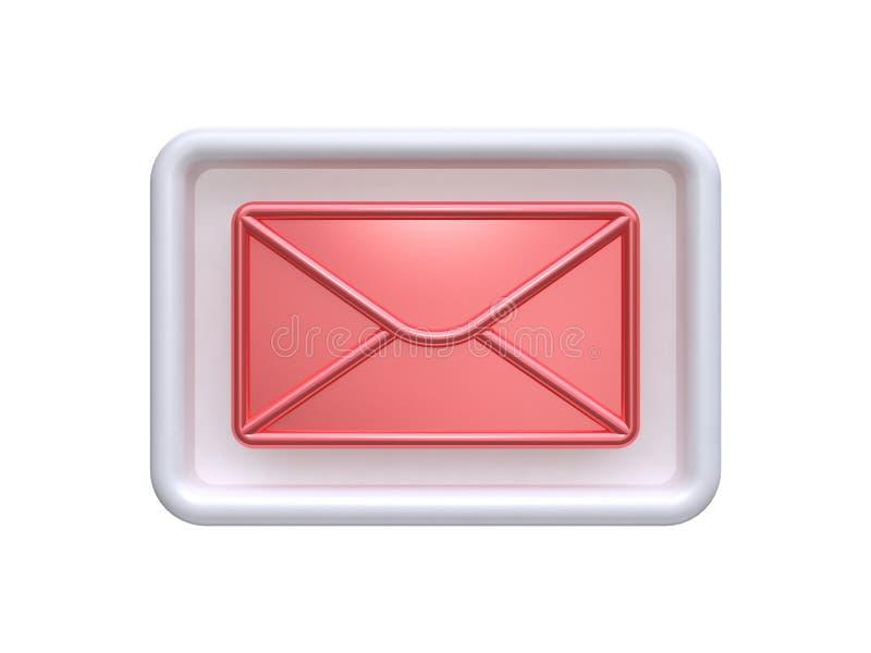 3d抽象红色邮件岗位象反射3d回报岗位通信概念 库存例证