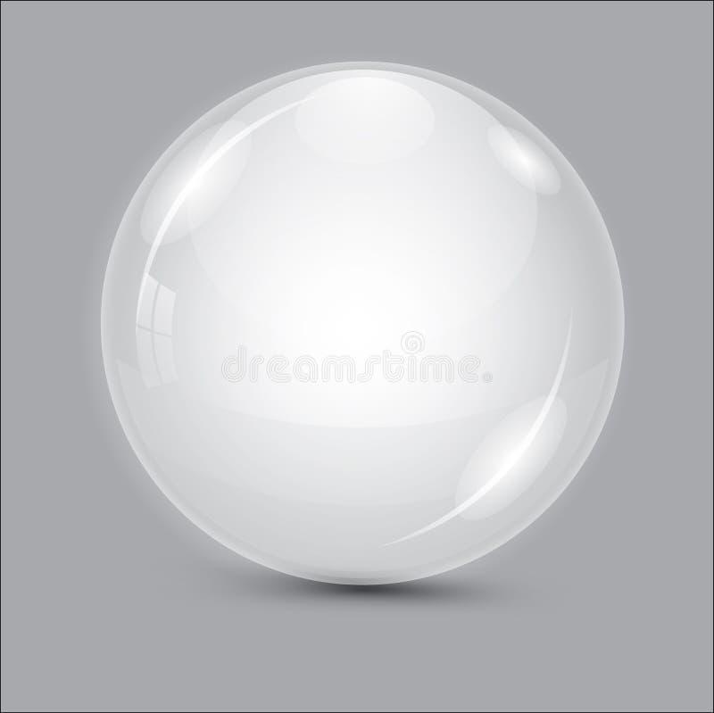 3d抽象背景球玻璃 透明的球 向量例证