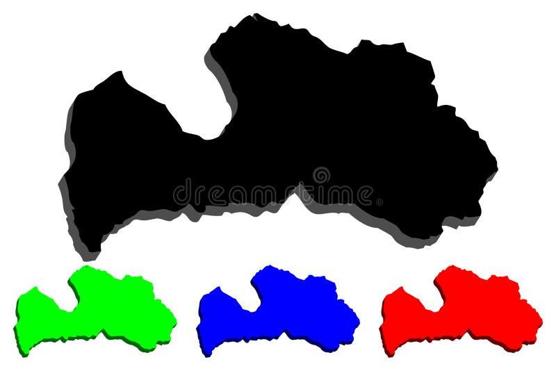 3D拉脱维亚的地图 向量例证