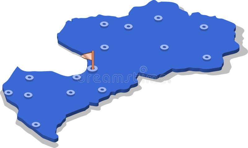 3d拉脱维亚的等轴测图地图有蓝色表面和城市的 皇族释放例证