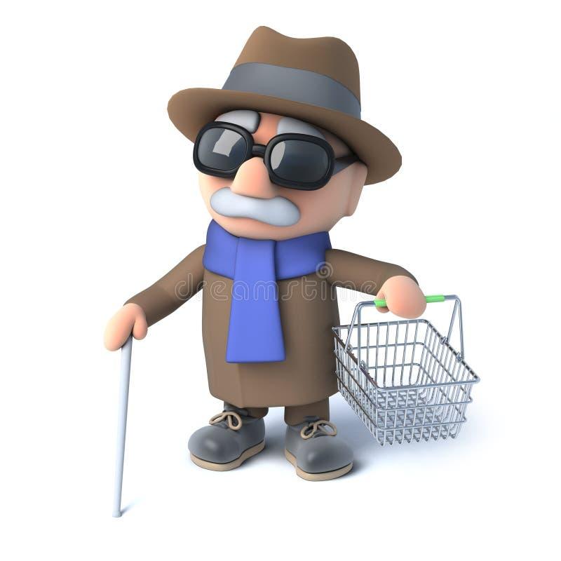 3d拿着一个空的手提篮的盲人 库存例证