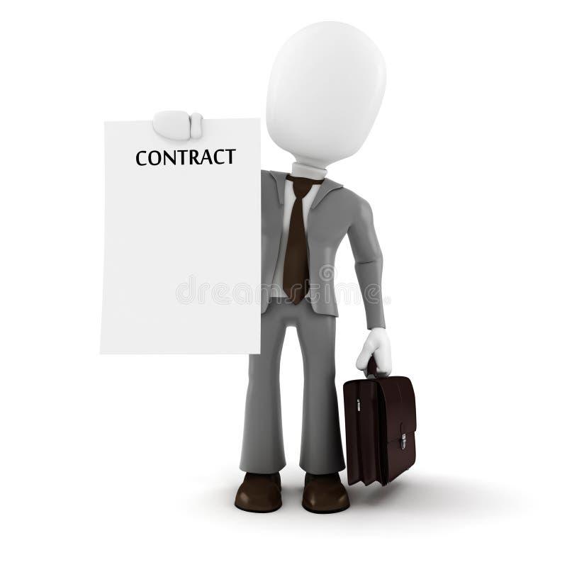 3d拿着一张新的合同纸的人商人 库存例证
