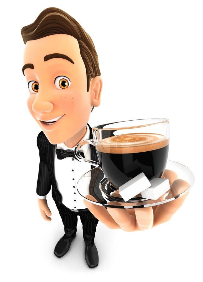 3d拿着一杯咖啡的侍者 向量例证