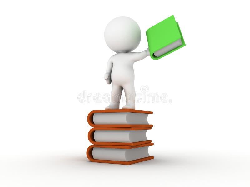3D拿着书的人站立在堆书 库存例证