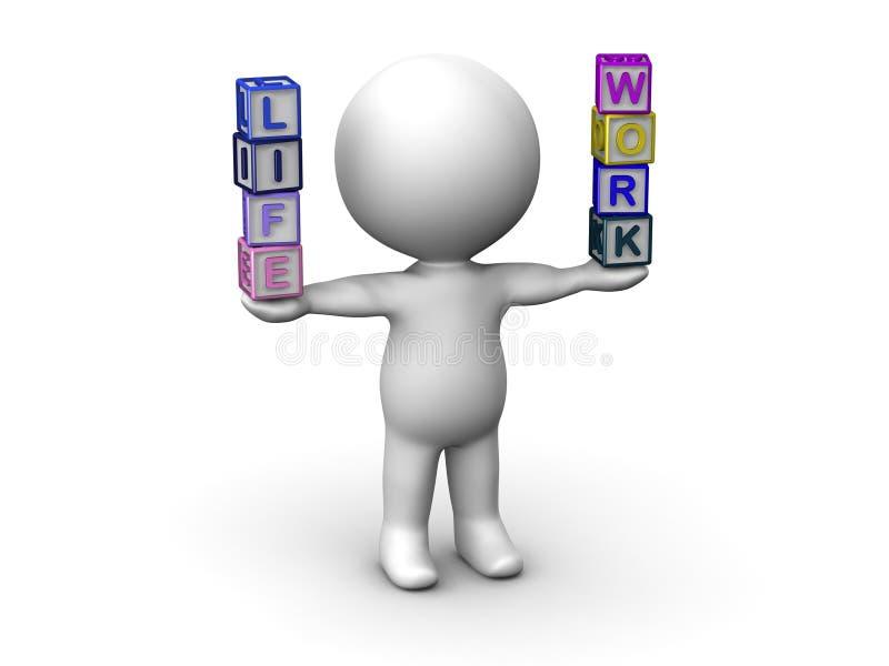 3D人平衡的生活和工作信件立方体 库存例证