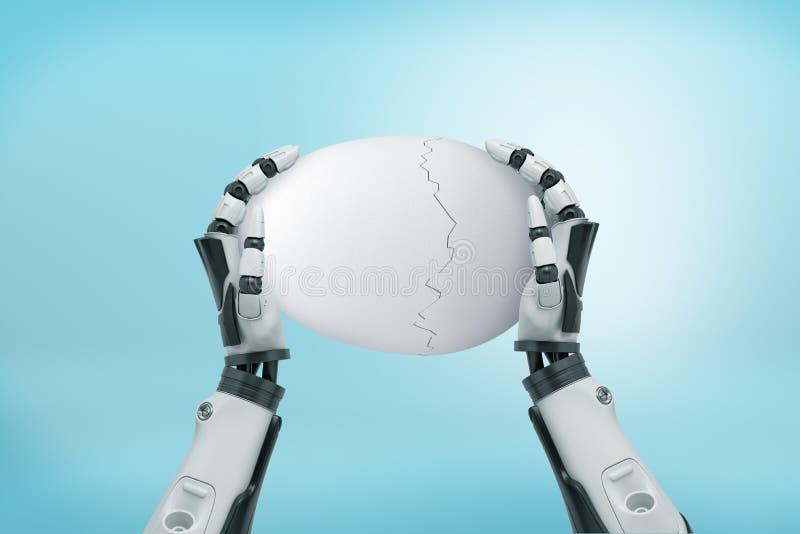 3d拿着在浅兰的背景的机器人手翻译一个白色残破的鸡蛋 皇族释放例证