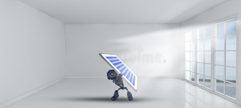 3D拿着在空的室里面的机器人太阳电池板有窗口的 向量例证
