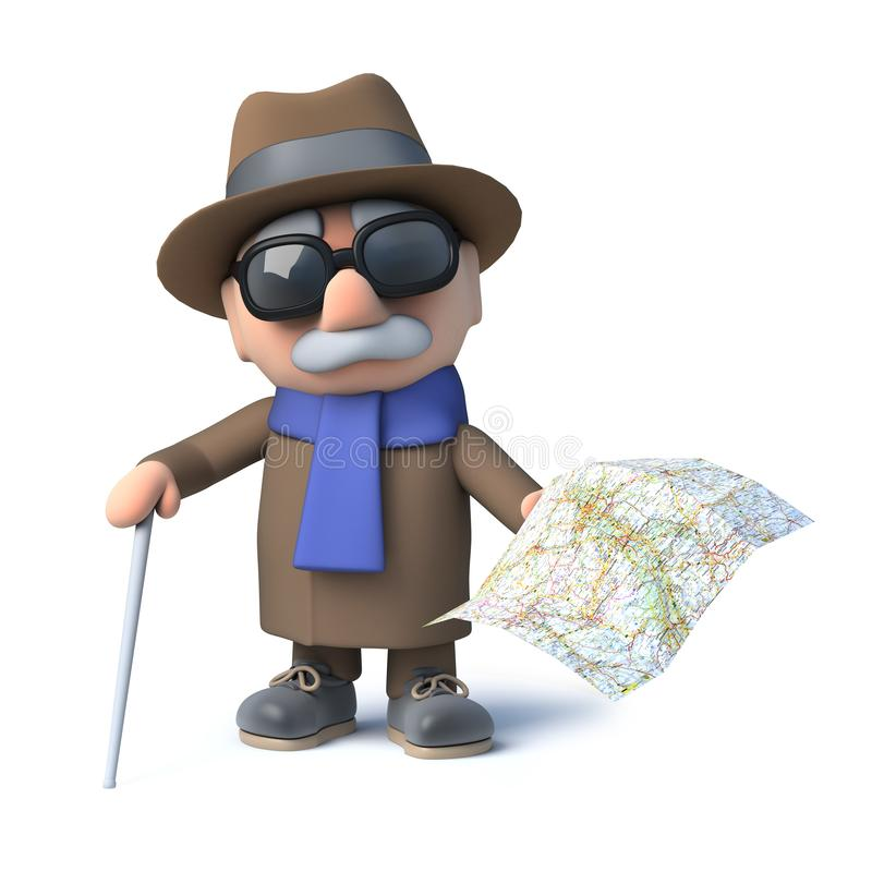 3d拿着地图的老盲人 皇族释放例证