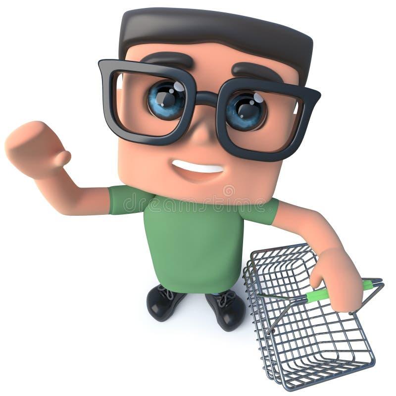 3d拿着手提篮的滑稽的动画片书呆子怪杰黑客字符 皇族释放例证