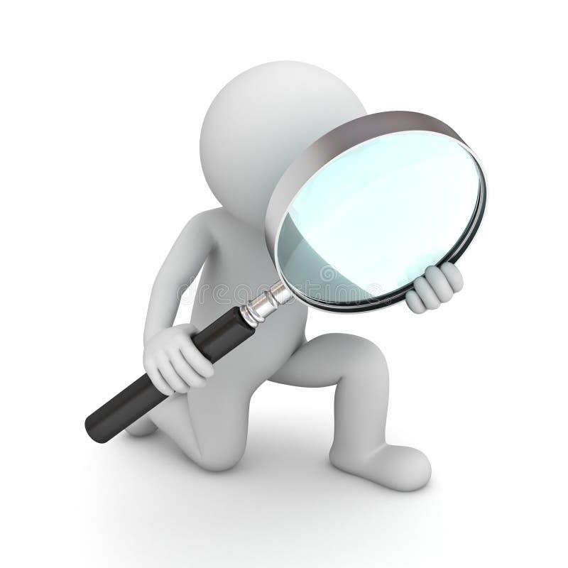 3d拿着放大镜的人 向量例证