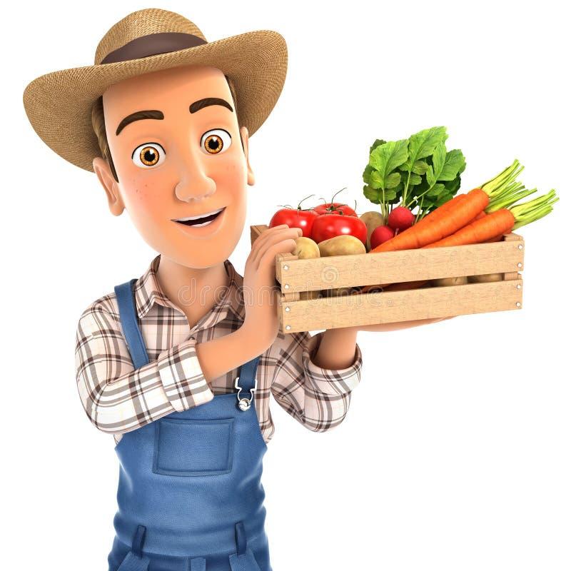 农夫卡通画_3d拿着条板箱菜的农夫