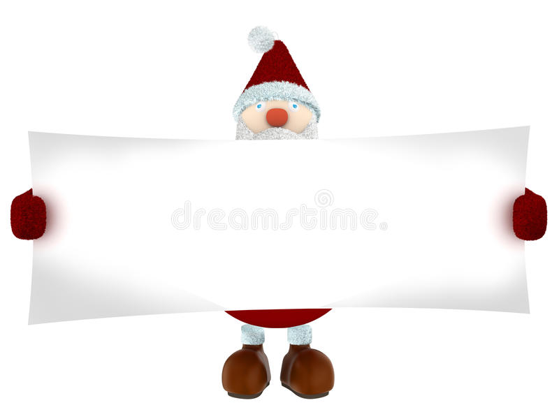 3D拿着白皮书的圣诞老人 免版税库存照片