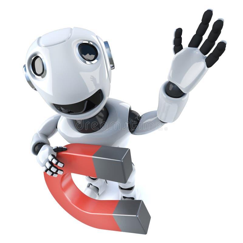3d拿着磁铁的滑稽的动画片机器人字符 皇族释放例证