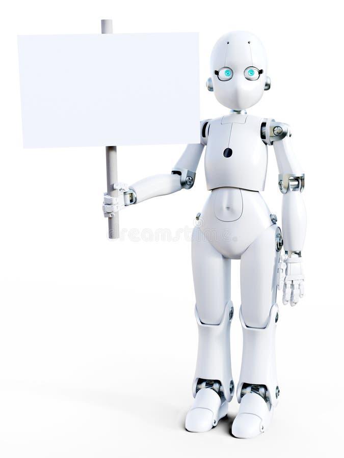 3D拿着空白的标志的一个白色动画片机器人的翻译 皇族释放例证