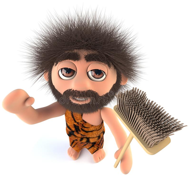 3d拿着笤帚的滑稽的动画片石器时期穴居人字符 库存例证