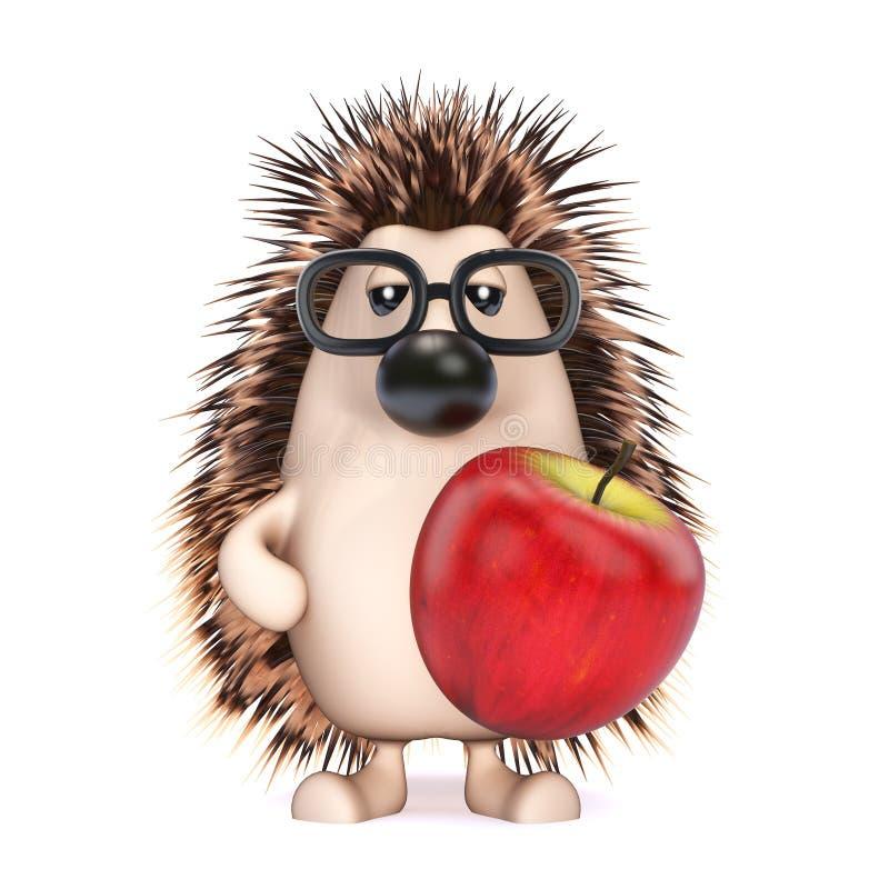 3d拿着苹果的猬 向量例证
