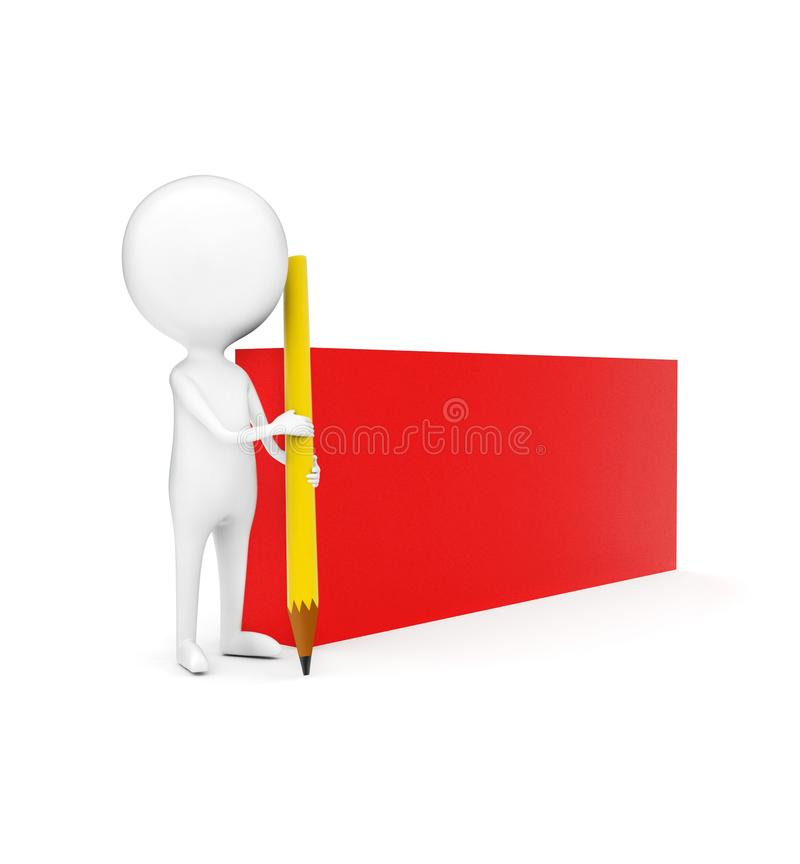 3d拿着铅笔的人由他的有它的石墨末端的手指向往地面的两个,当站立近rectangula时 向量例证