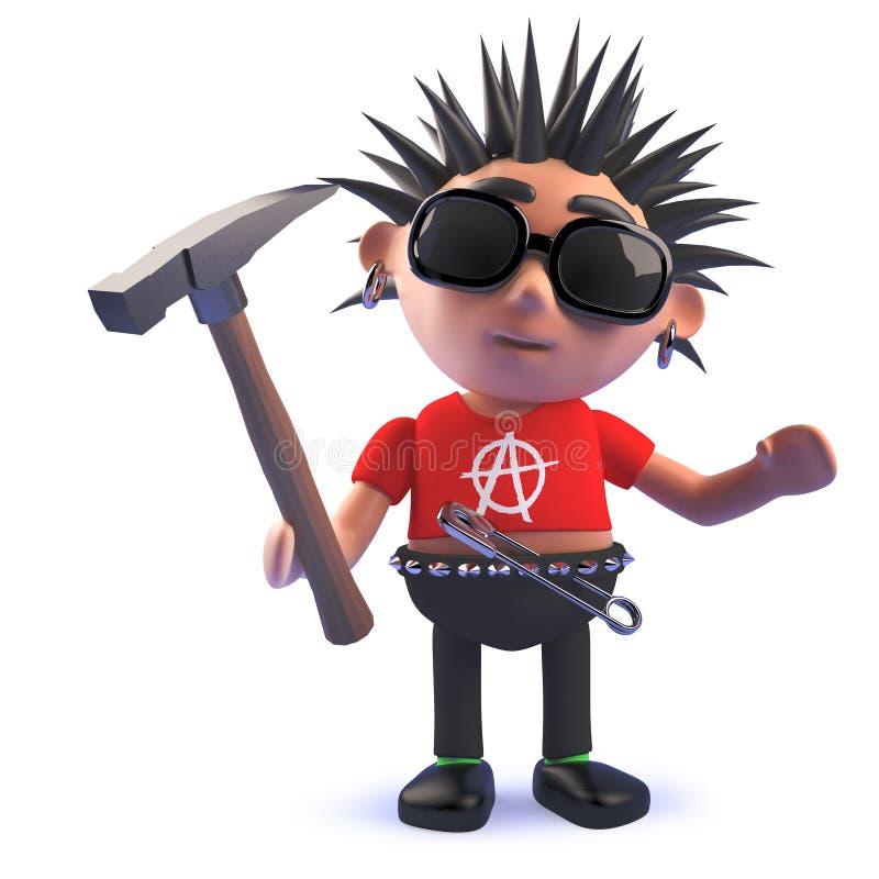 3d拿着锤子的动画片腐烂的庞克摇滚乐字符 向量例证