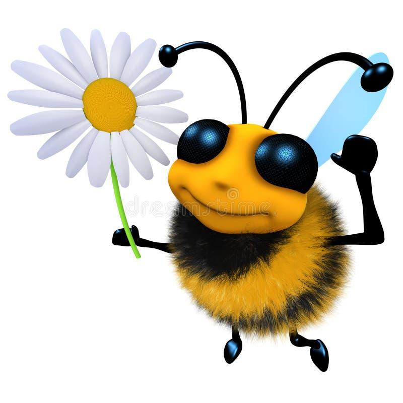 3d拿着雏菊花的滑稽的动画片蜂蜜蜂字符 皇族释放例证
