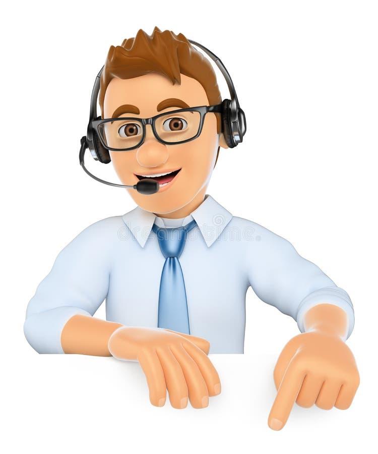 3D指向电话中心的工作者下来 空白 皇族释放例证