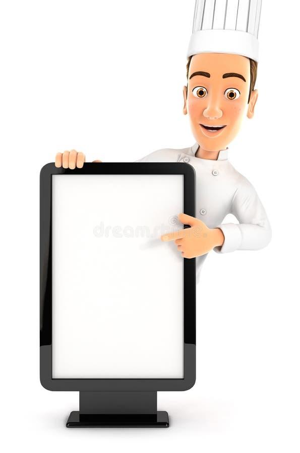 3d指向空白的广告牌的主厨 向量例证