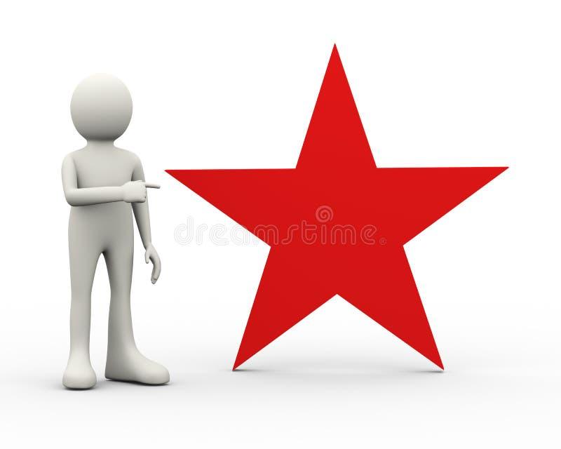 3d指向红色大星的人 库存例证