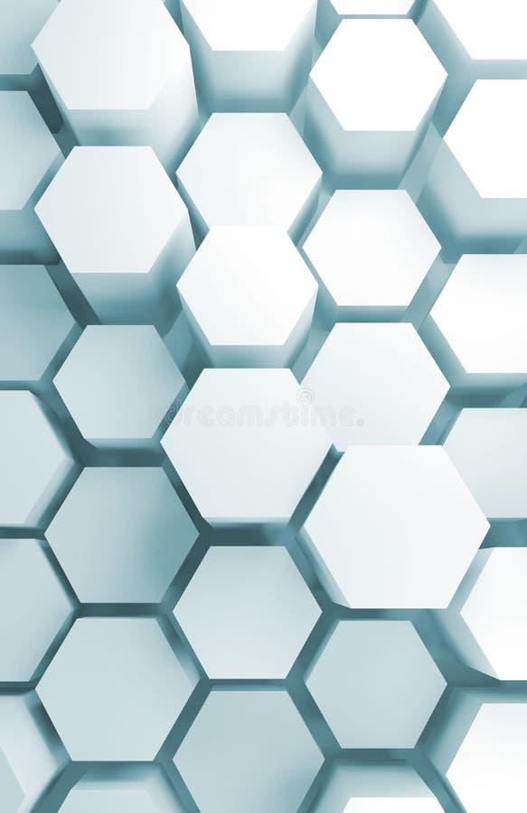 3d挤压了在墙壁上的六角形样式 皇族释放例证