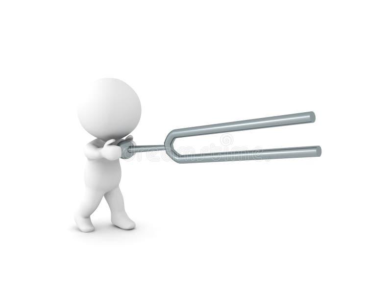 3D挥动一把tunning的叉子的字符 库存例证